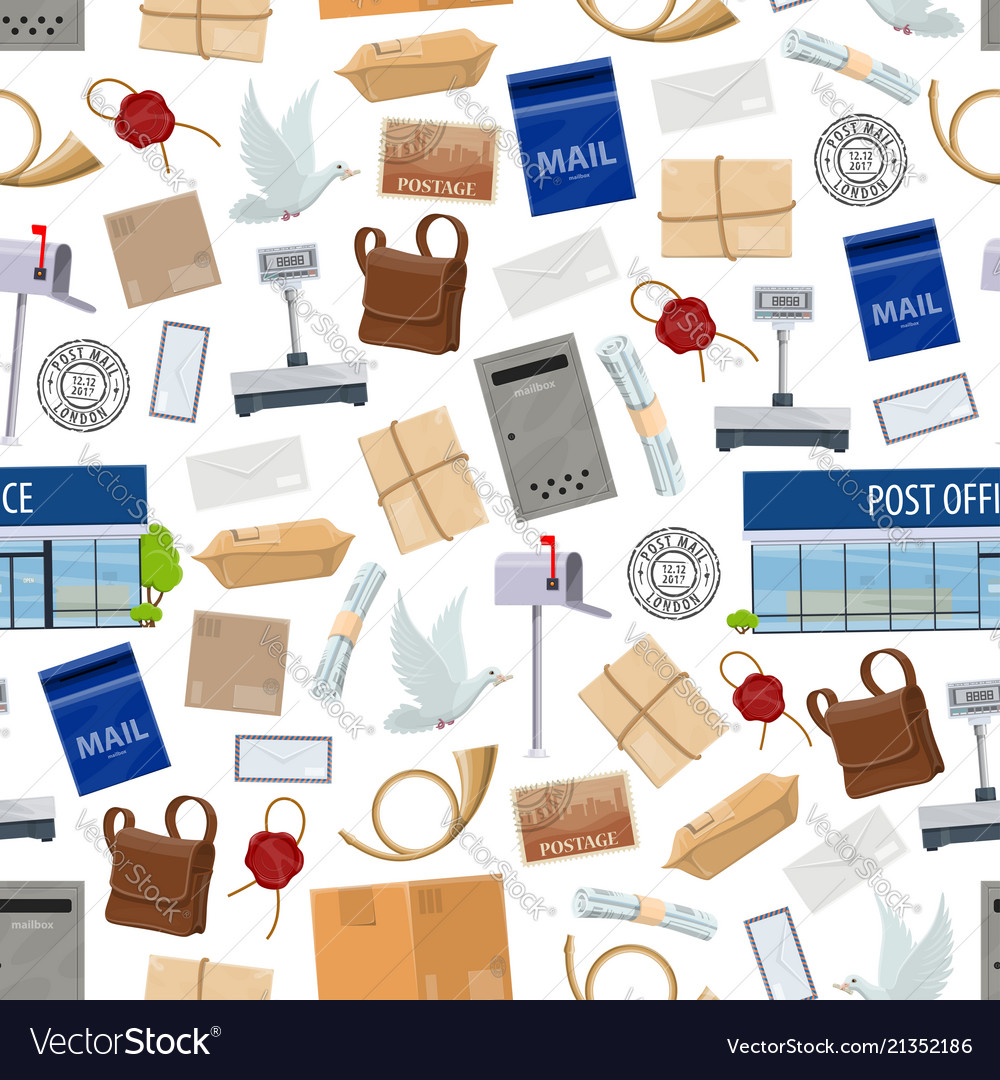 Post service seamless pattern with big parcels
