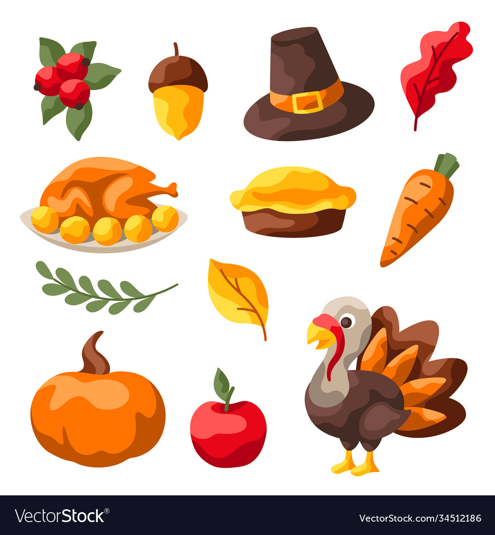 Set happy thanksgiving day items