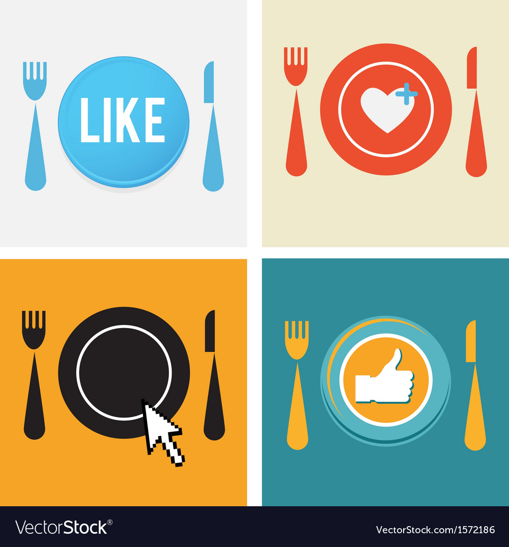 Set of four icons for food and restaurant webs
