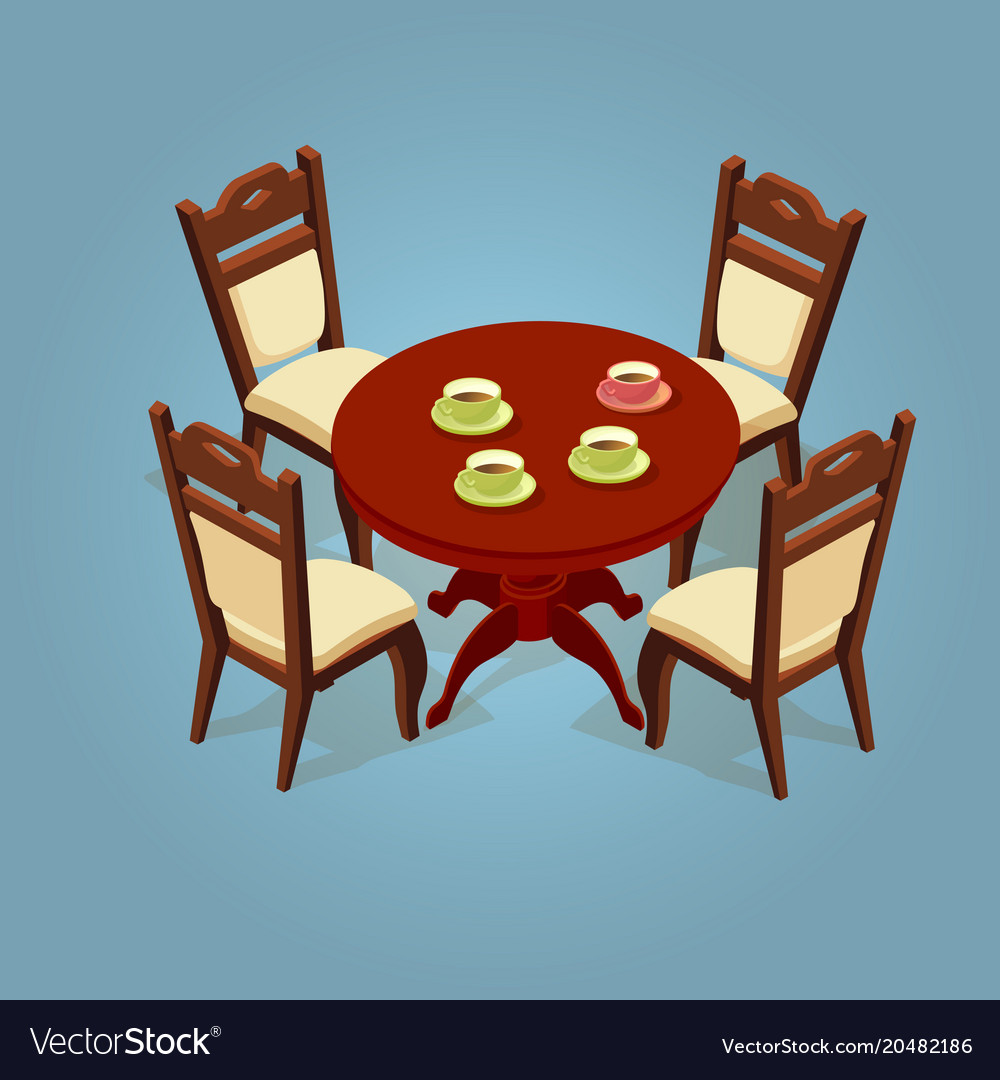 set of the isometric cartoon table and four chairs rh vectorstock com