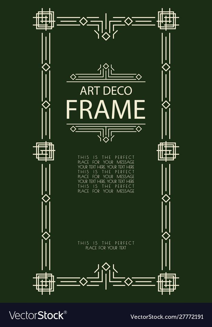 Art deco frame gold style