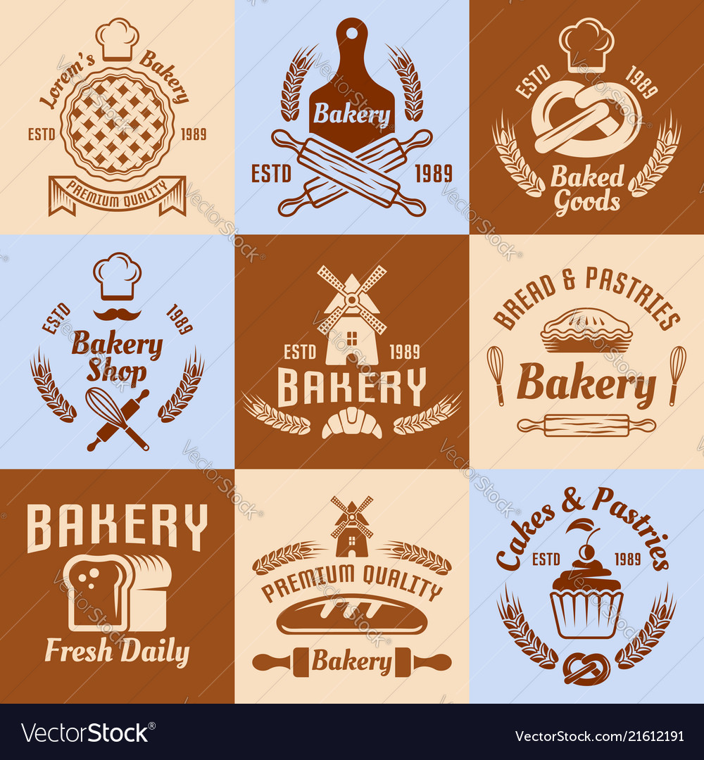 Bakery and pastries vintage colored emblems