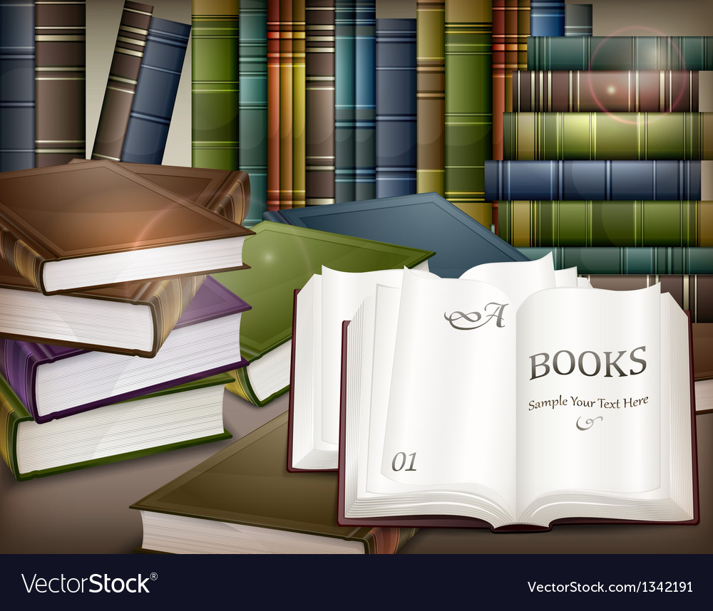 Book stacks on table