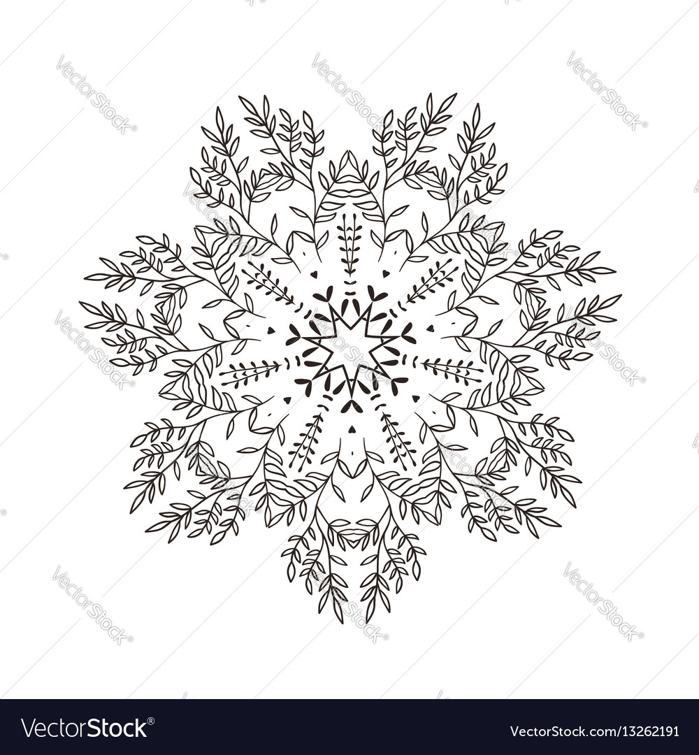 Branches stylized mandala vector