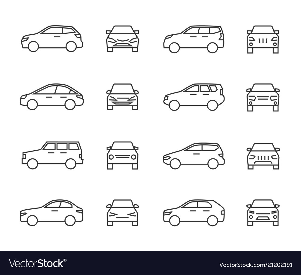 Cars front and side view line signs auto symbols