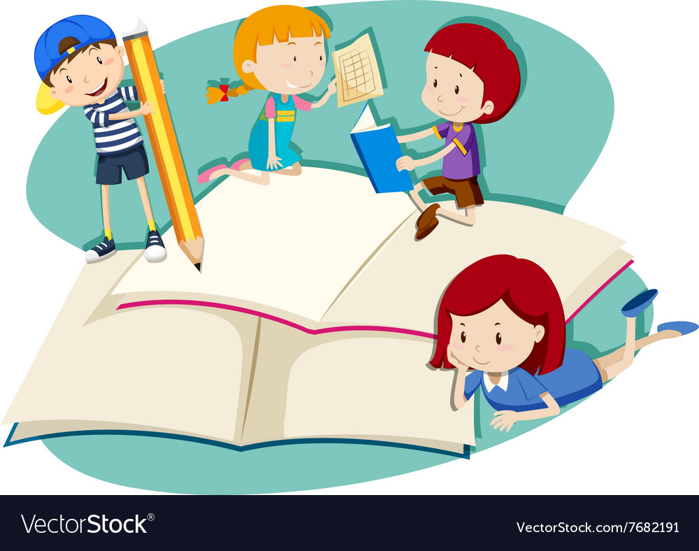 Children writing and reading Royalty Free Vector Image