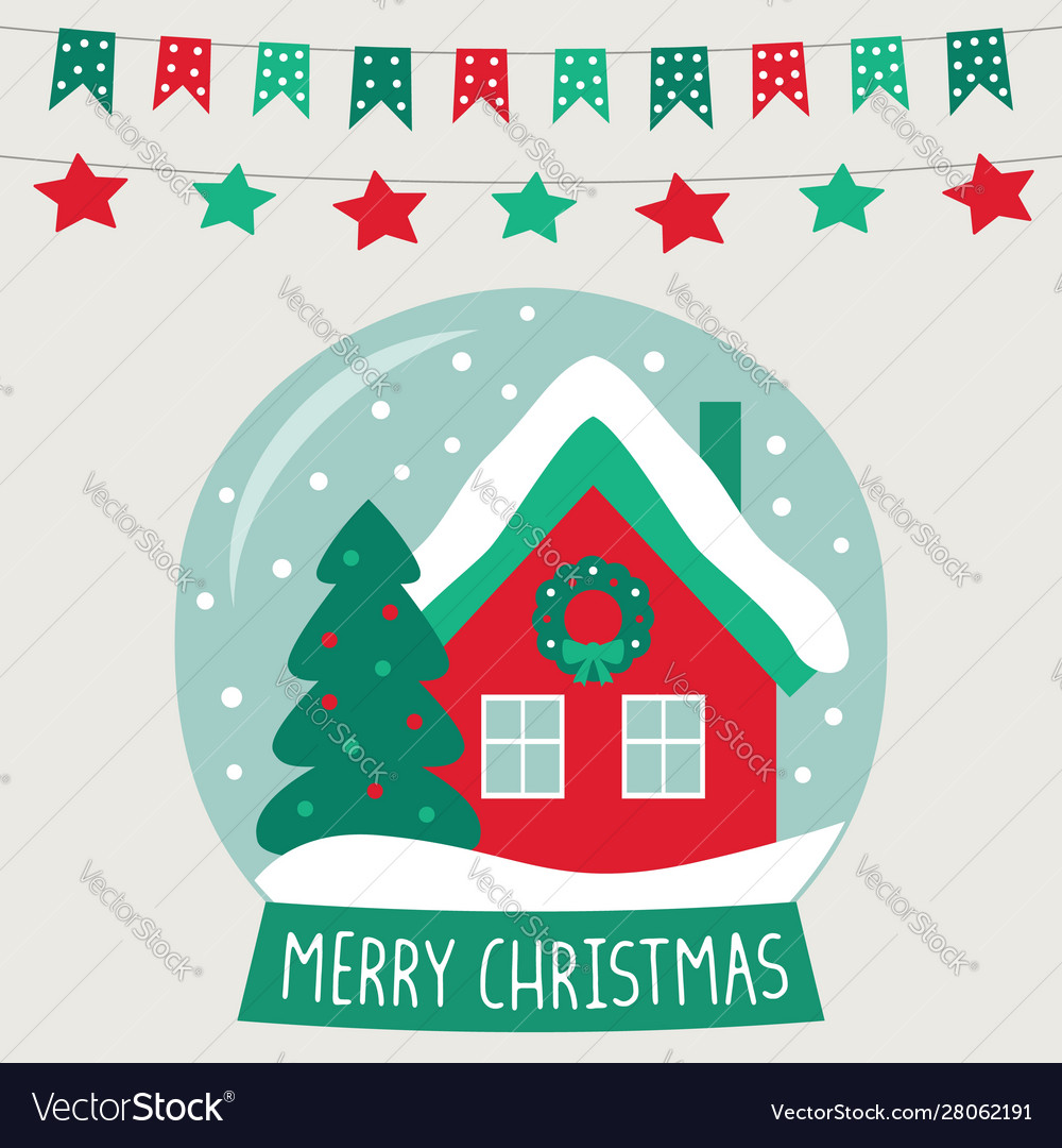 Christmas glass ball with a cute cartoon house vector