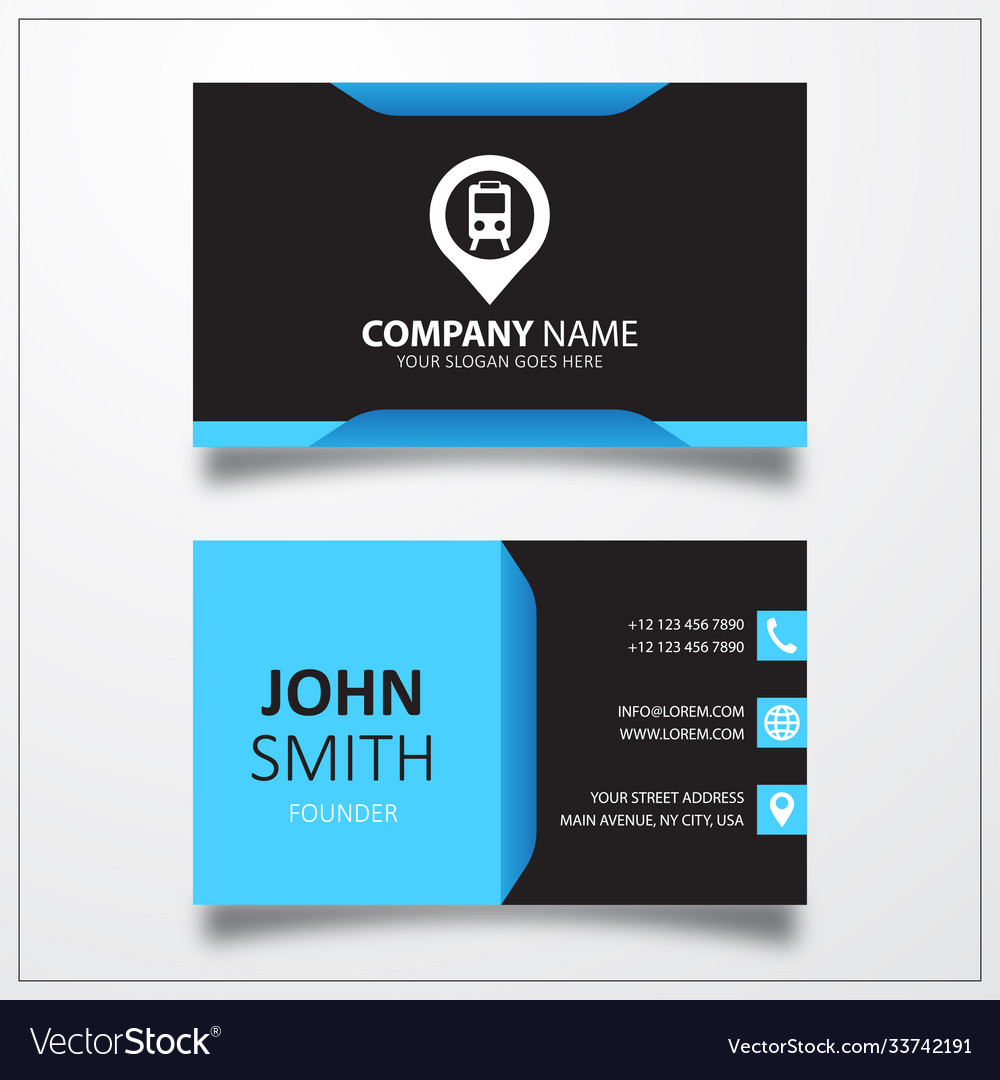 City railway station pin icon business card