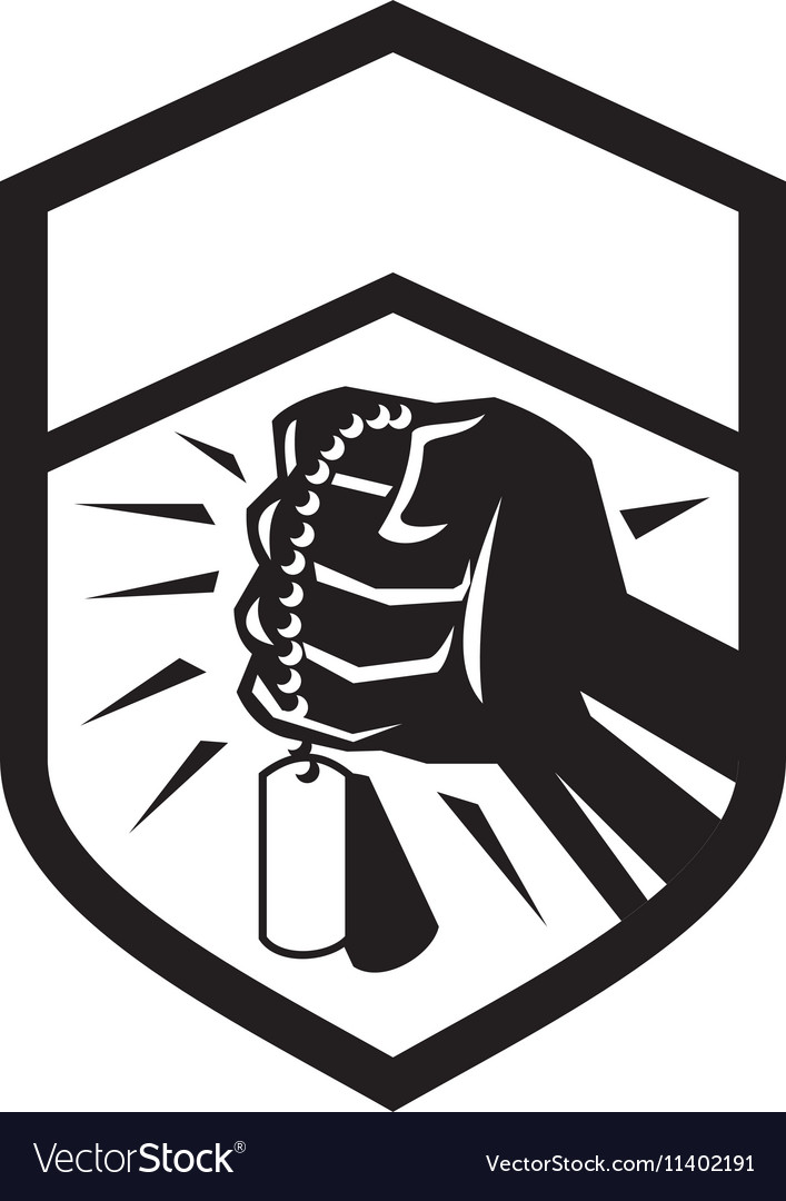 Clenched Fist Holding Dogtag Crest Retro vector image