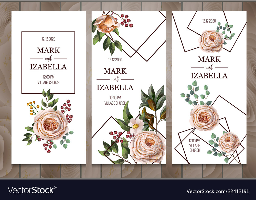 Delicate wedding invitation with english roses