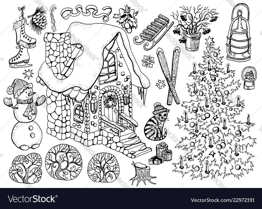 Design set with christmas and new year house 2
