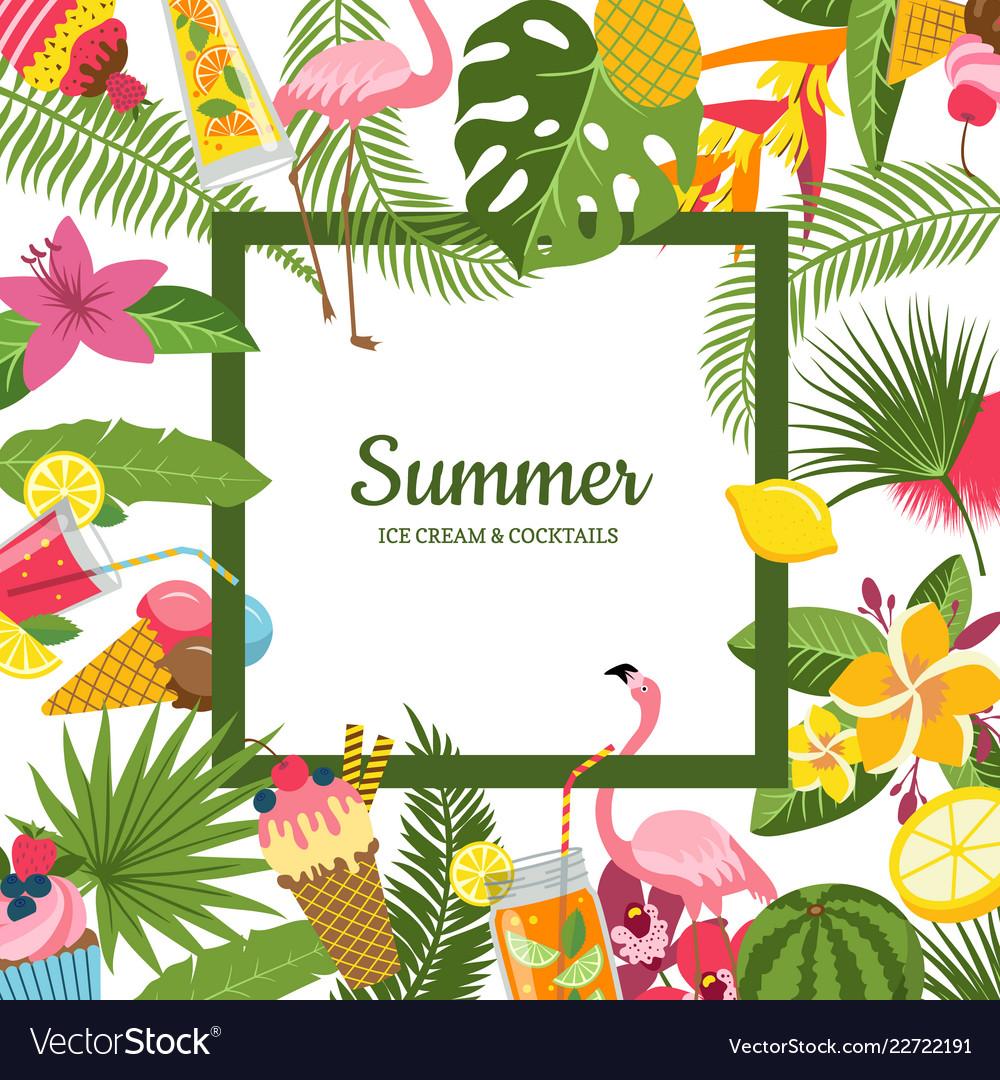 Flat cute summer cocktails flamingo palm