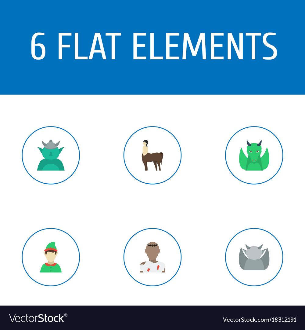 Flat icons elf evil mythology and other