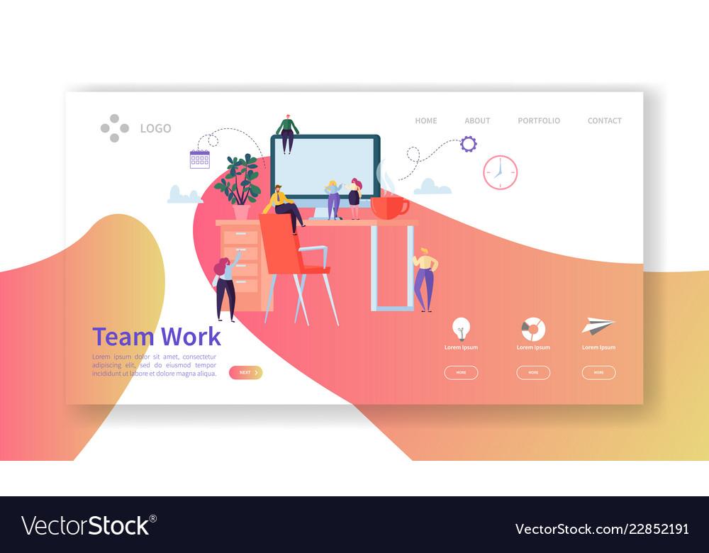 Team work landing page creative process concept