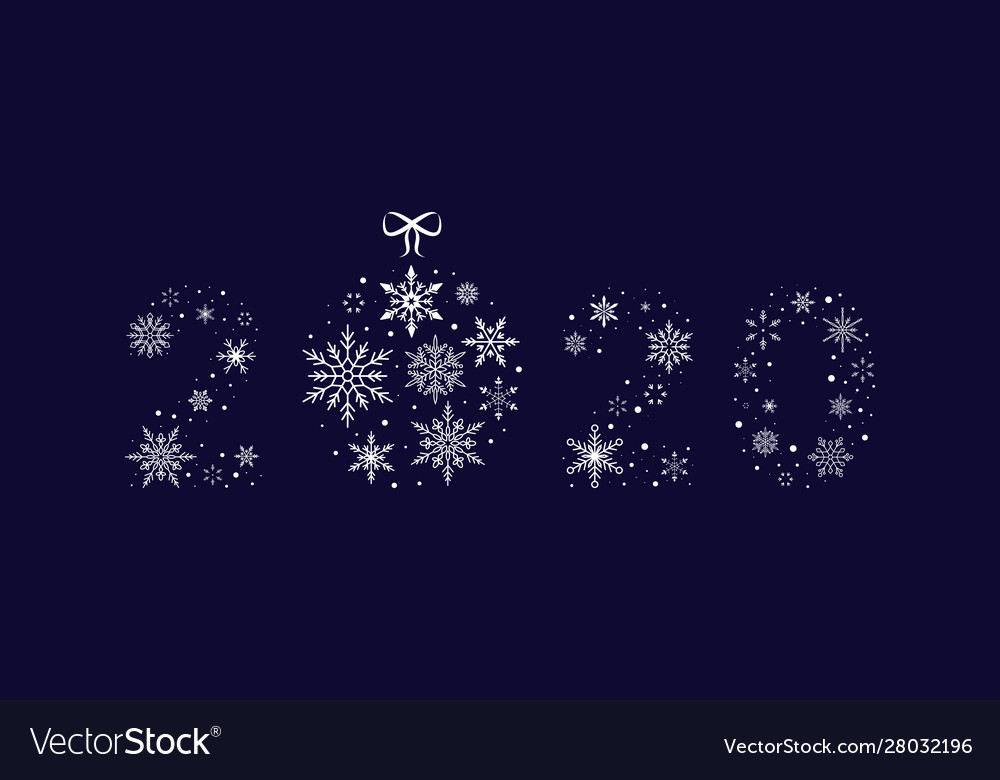 2020 snowflakes with christmas ball new year