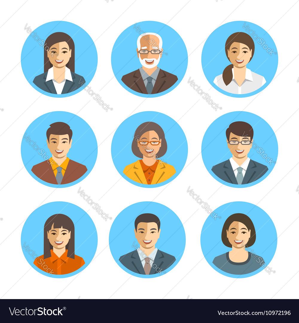 Asian business people simple flat avatars