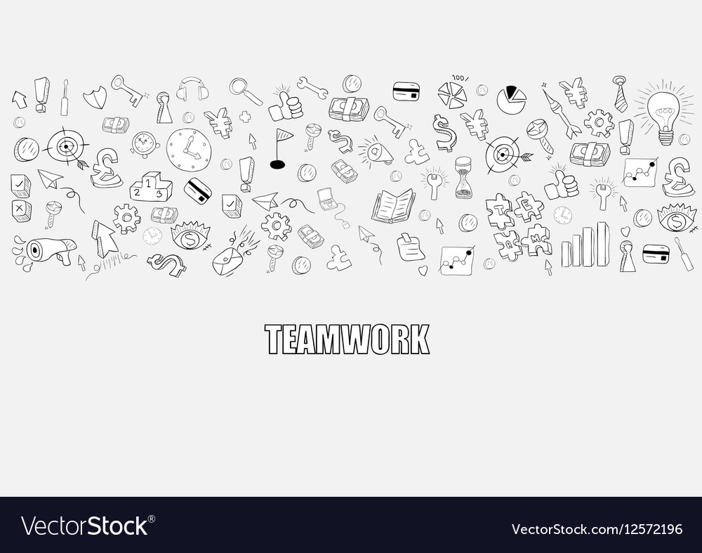 Business development doodles objects background