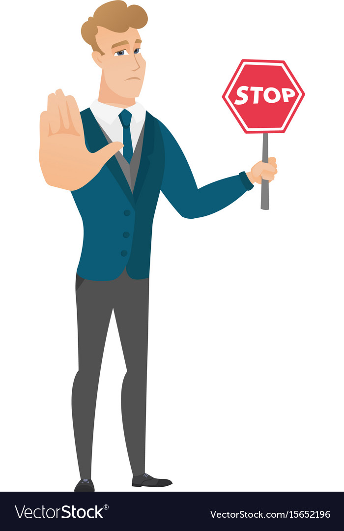 Caucasian groom holding stop road sign vector image