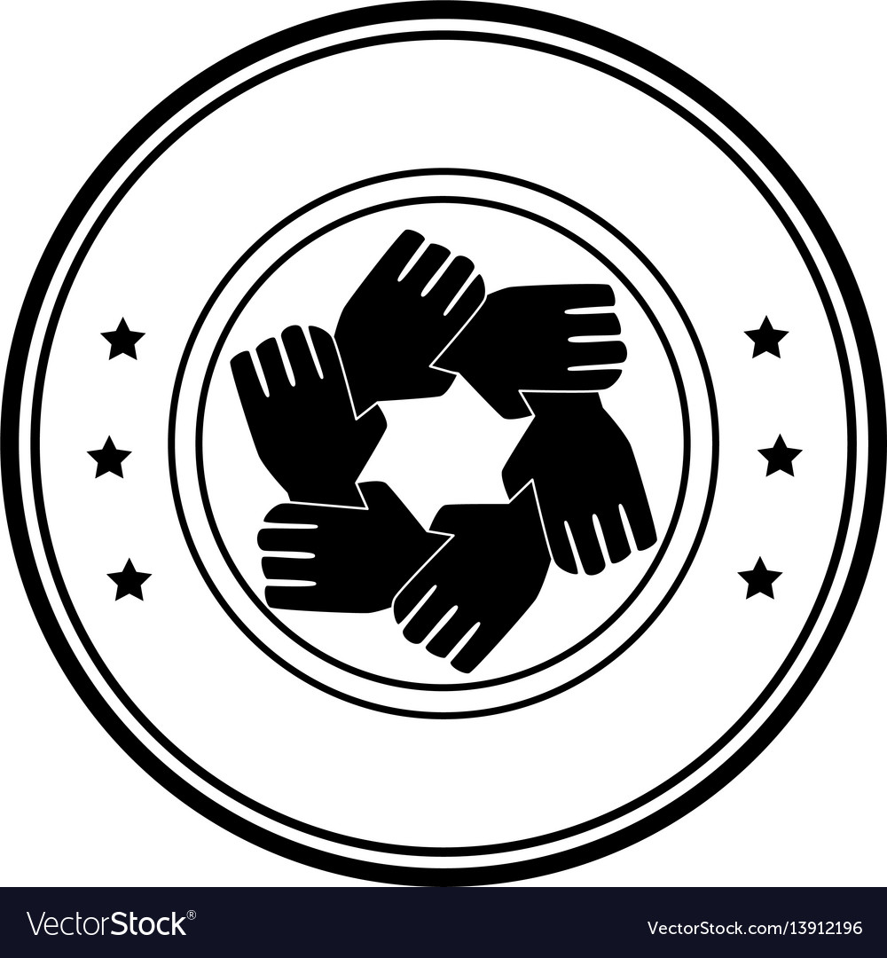 Circular frame with silhouette hands teamwork vector image