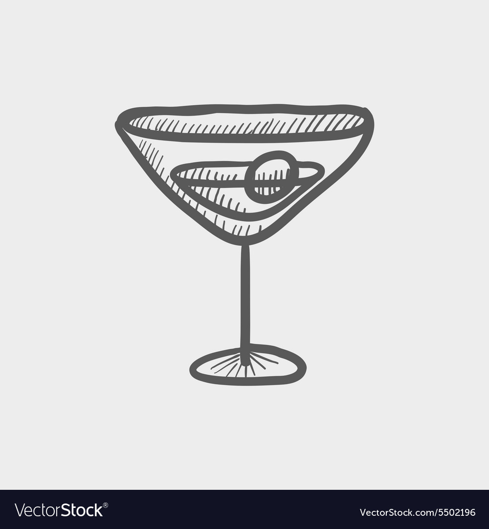 Cocktail drink with cherry sketch icon