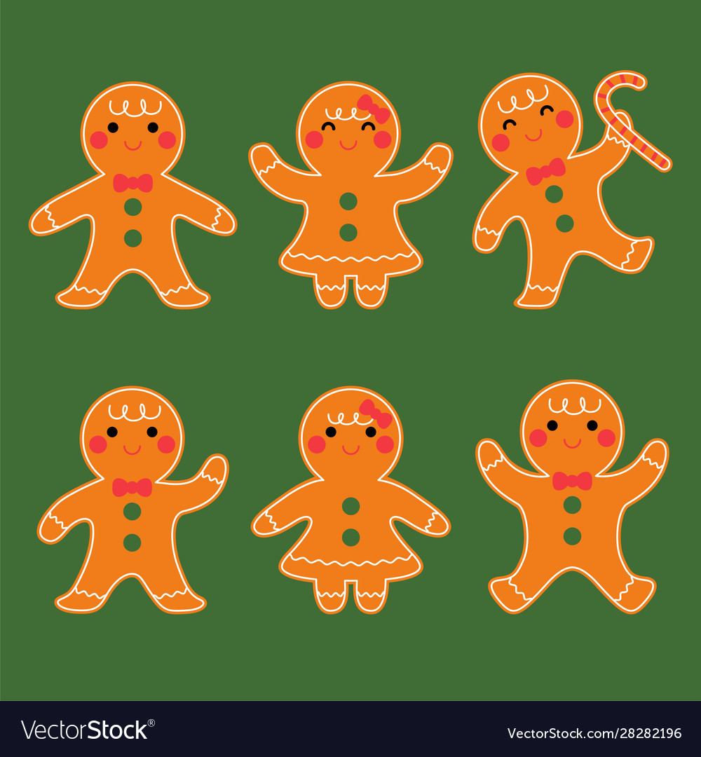 Cute gingerbread boy and girl character set