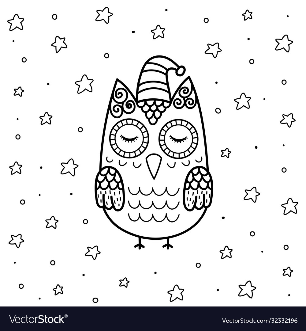 Cute sleeping owl in zentangle style coloring page