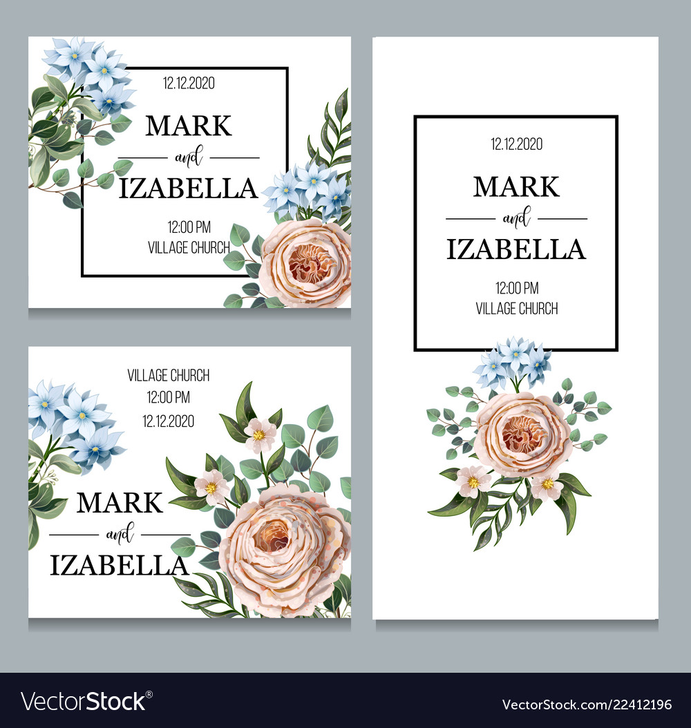 Delicate wedding invitation with english