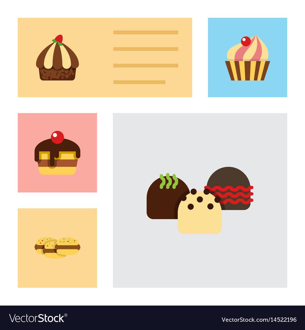 Flat cake set of sweetmeat cupcake cake and vector image