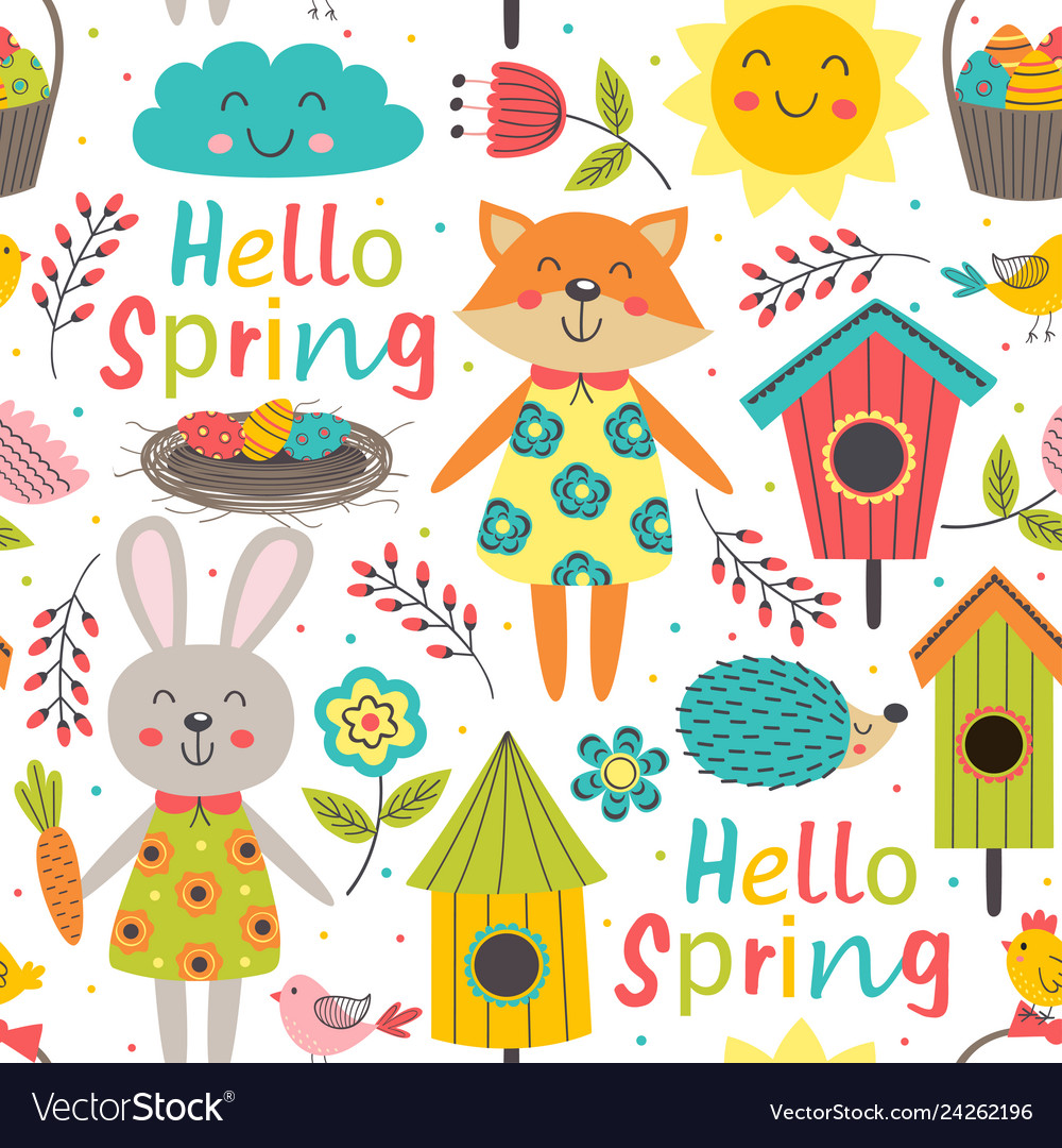 Funny spring seamless pattern with cute animals