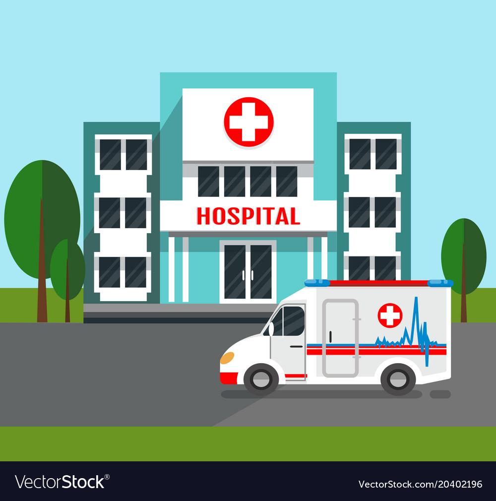 Hospital building and ambulance car