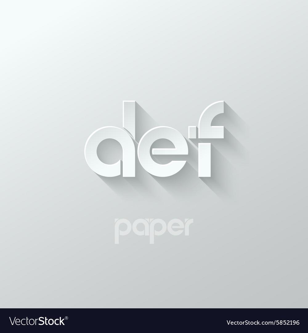 Letter D E F logo alphabet icon paper set