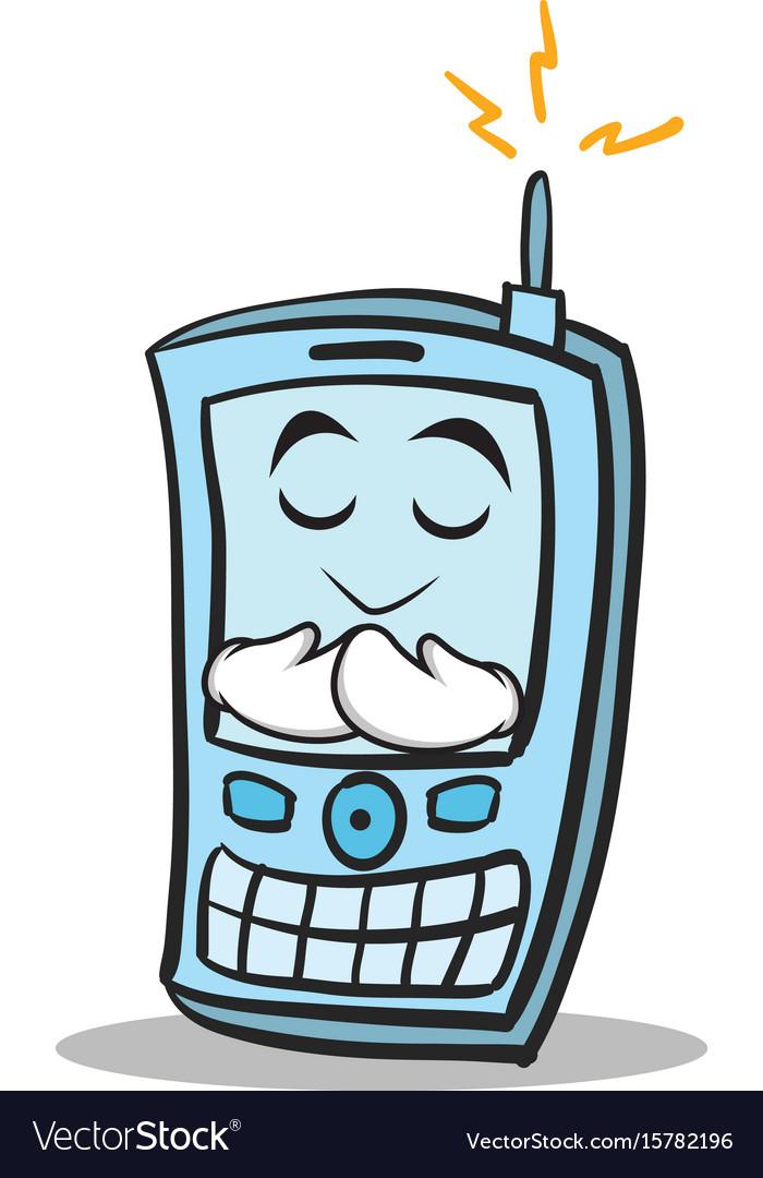 Praying face phone character cartoon style vector image