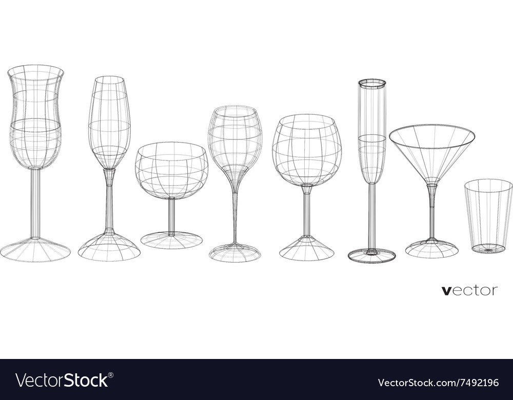 Set of glasses goblets in wireframe style