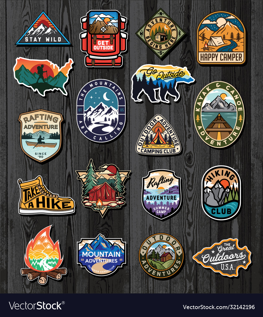 Set vintage outdoor summer camp logo patches