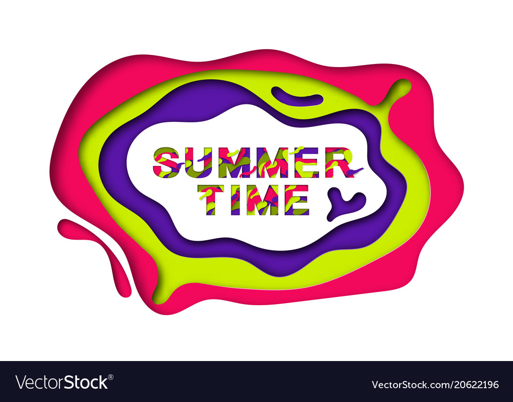 Summer typography design with abstract paper cut