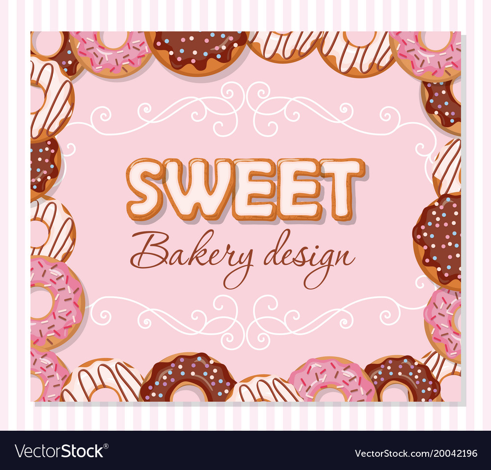 Sweet bakery design template cartoon hand drawn
