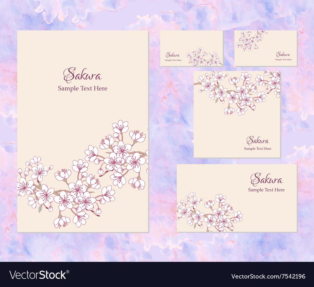 Template Corporate Identity With Sakura Royalty Free Vector