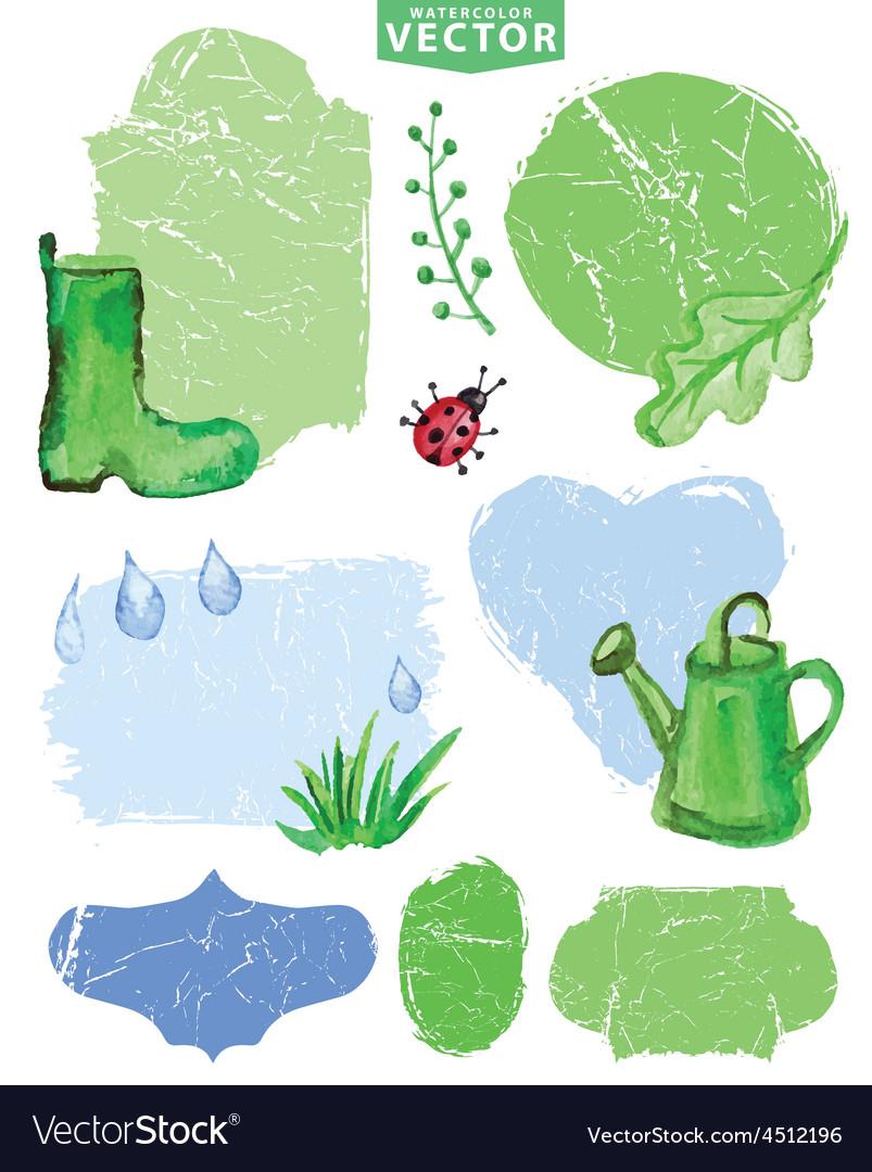 Watercolor Spring grouplabelsGreen