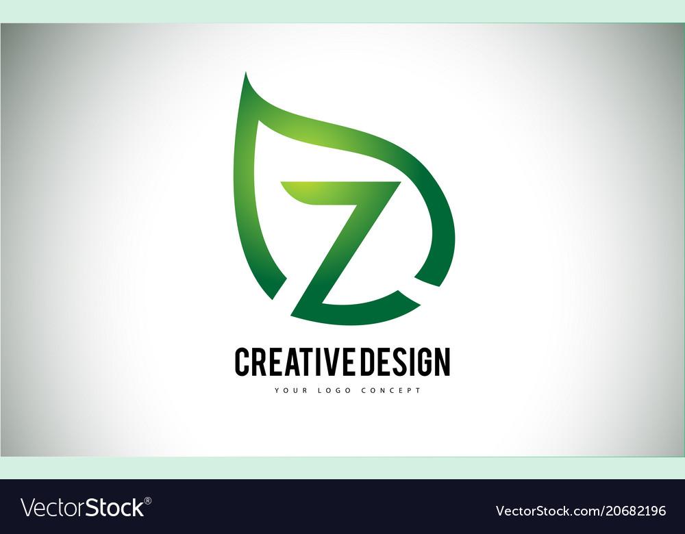 Z leaf logo letter design with green leaf outline vector image spiritdancerdesigns Image collections