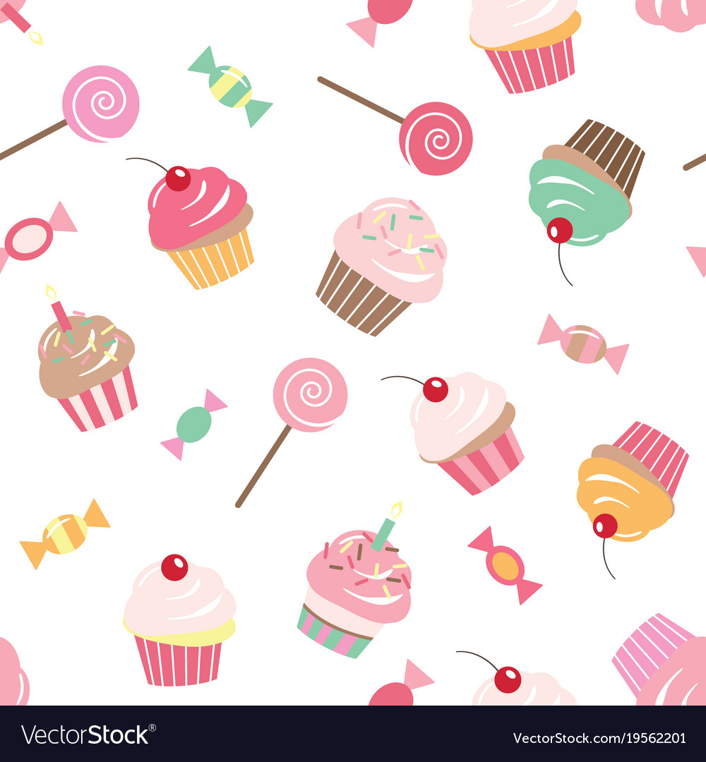 birthday seamless pattern background with cupcakes vectorstock
