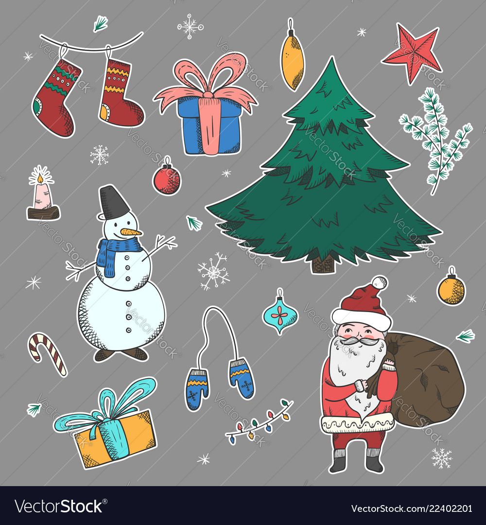 Bright stickers set of doodle christmas elements