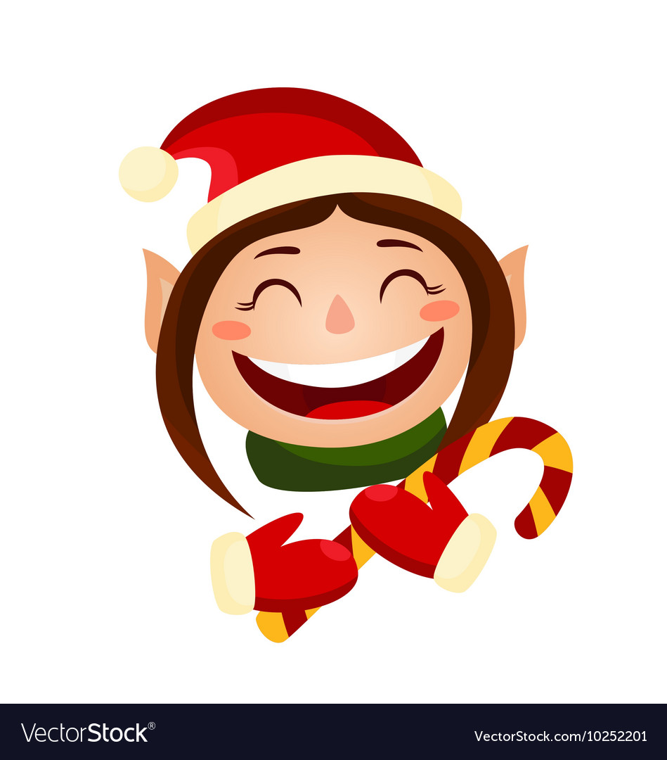 Cartoon cute christmas girl - elf holding a candy