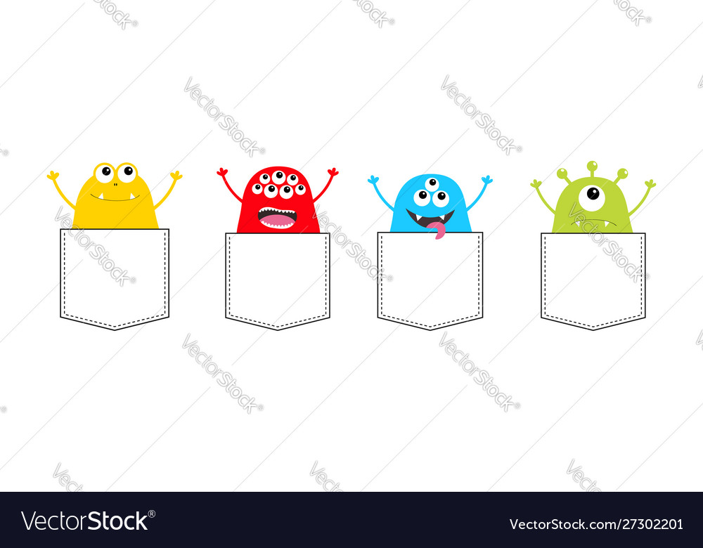 Cartoon monster pocket set holding hands up