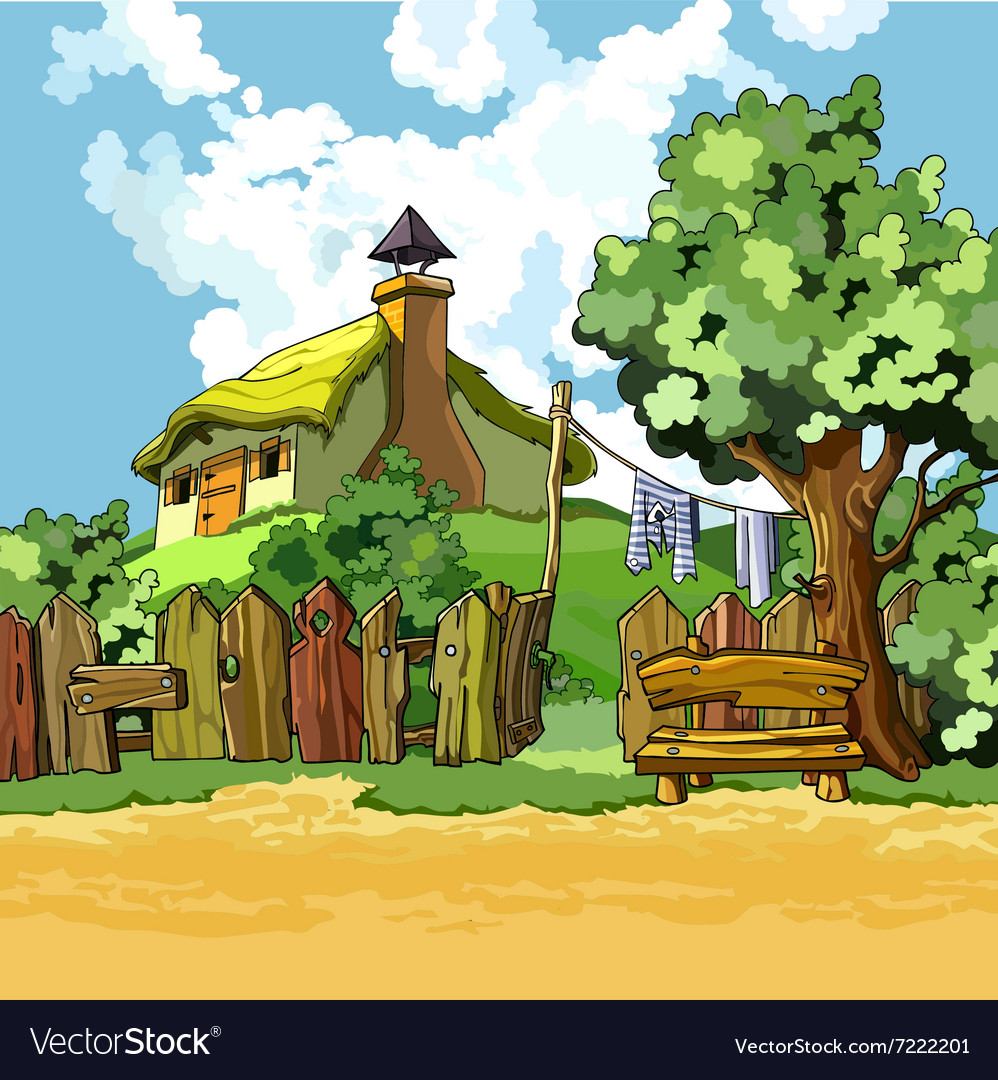 Cartoon Village House With A Courtyard Royalty Free Vector
