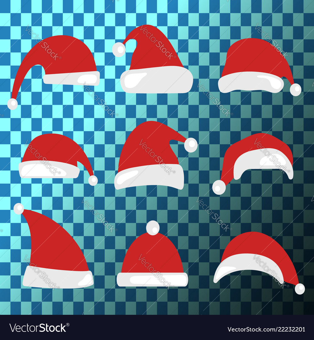 78f76aac8615c Christmas hat set santa claus hats collection Vector Image
