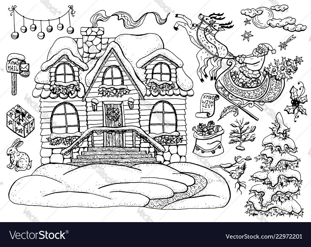 Design set with christmas cottage house 3
