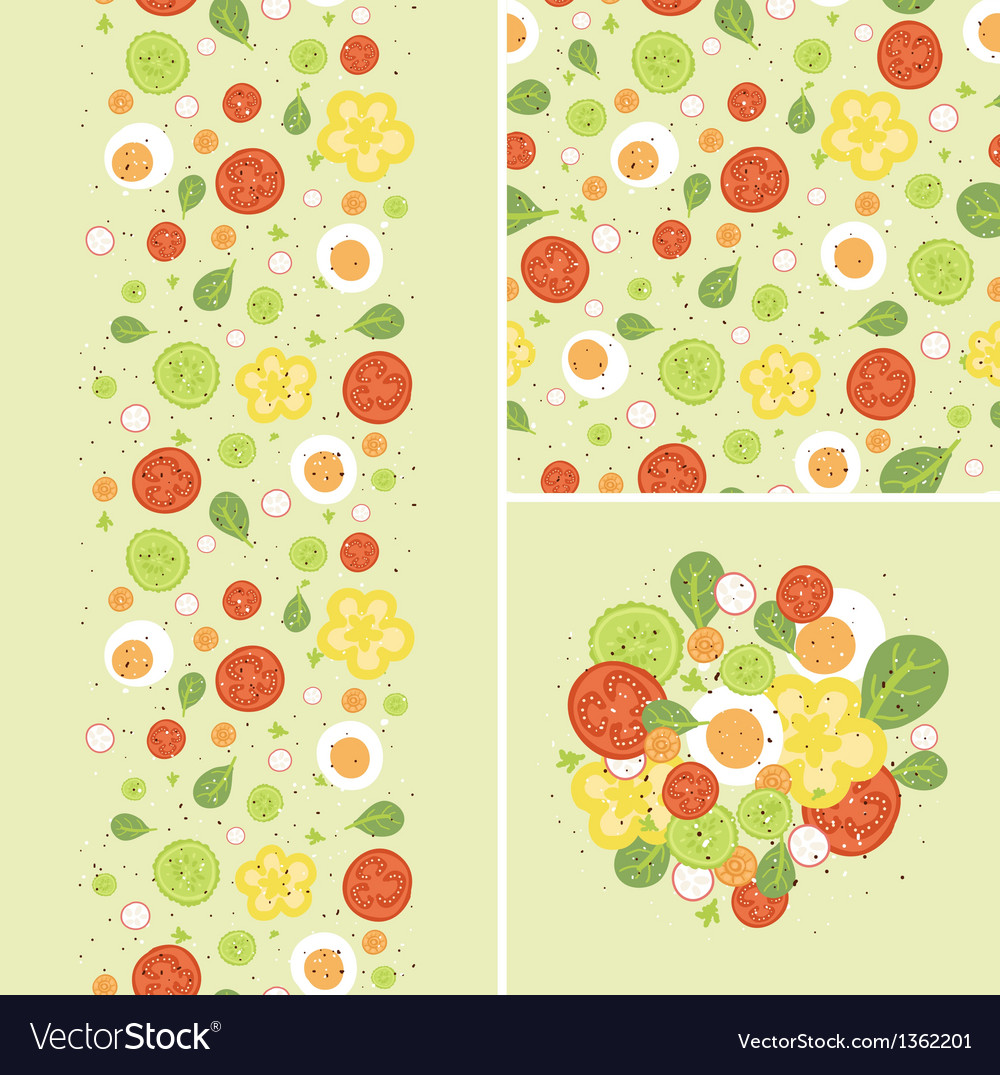 Eggs and salad set of seamless pattern and borders