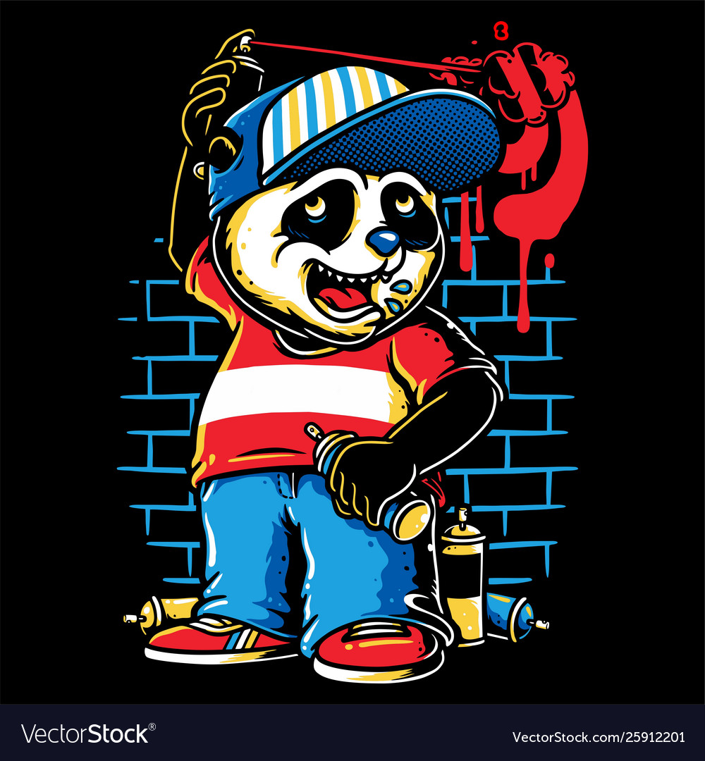 Graffiti Character Cute Panda Holding A Spray Vector Image