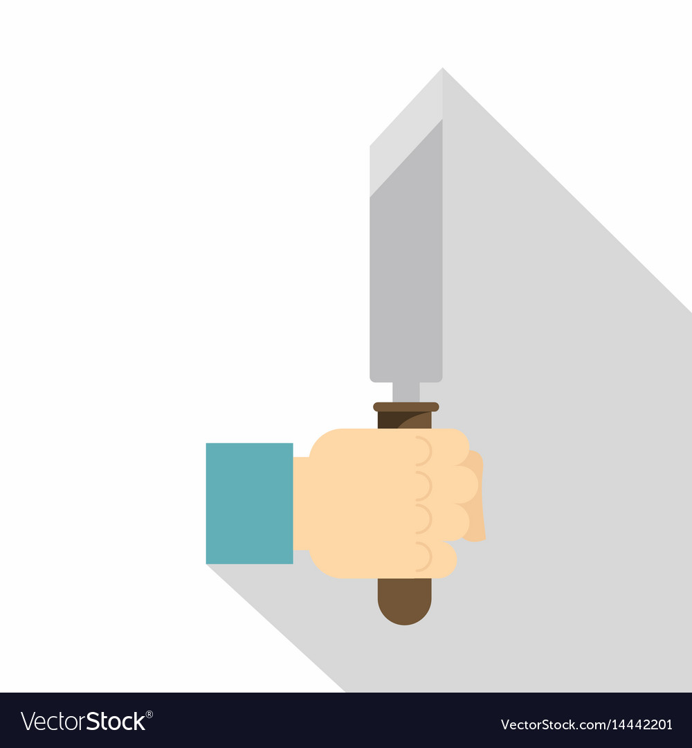 Hand holding chisel icon flat style