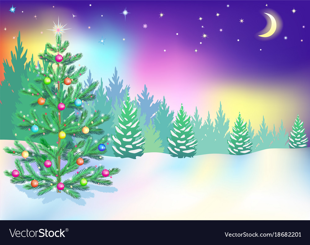 new year northern lights vector image